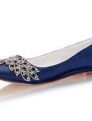 cheap -Women's Wedding Shoes Flat Heel Round Toe Rhinestone / Bowknot Satin Spring &  Fall / Summer Dark Blue / Party & Evening