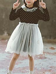 cheap -Kids Girls' Cute Street chic Polka Dot Patchwork Ruffle Mesh Patchwork Long Sleeve Dress Black