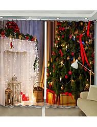 cheap -New Christmas Curtain White Fireplace Christmas Tree Digital Printing 3D Curtain Festival High Precision Black Silk Cloth High Quality Blackout Curtain