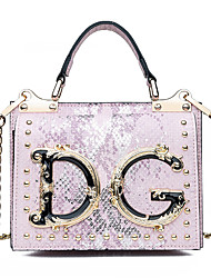 cheap -Women's Rivet PU Top Handle Bag Solid Color Black / Blushing Pink / Gold