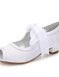 cheap -Girls' Mary Jane Satin Heels Little Kids(4-7ys) / Big Kids(7years +) Bowknot White / Ivory Spring / Peep Toe / Party & Evening
