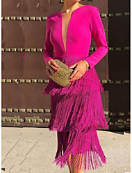 cheap -Sheath / Column Jewel Neck Tea Length Polyester Hot / Pink Cocktail Party / Party Wear Dress with Tassel 2020
