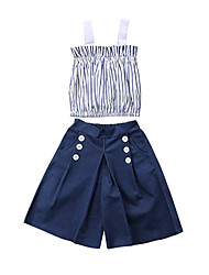cheap -Baby Girls' Casual / Active Striped / Solid Colored Sleeveless Long Clothing Set Blue