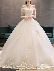 cheap -A-Line Wedding Dresses Off Shoulder Court Train Lace Short Sleeve Glamorous Illusion Detail with Beading Lace Insert 2020