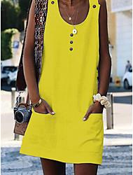 cheap -Women's Mini Yellow Fuchsia Dress Beach Shift S M
