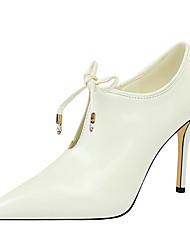 cheap -Women's Heels Stiletto Heel Pointed Toe PU Minimalism Spring & Summer Black / Camel / Wine / Wedding / Party & Evening