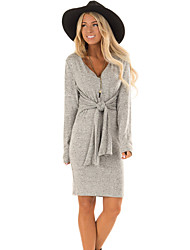 cheap -Women's Daily Wear Basic Bodycon Dress - Solid Colored Wine Gray S M L XL