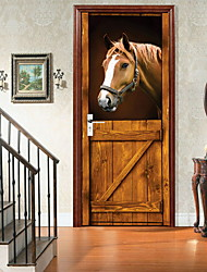 cheap -AmazingWall Stable 3D Horse Door Decor DIY Home Decoration Closet Poster Door Wall Mural Deca
