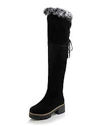 cheap -Women's Boots Snow Boots Chunky Heel Round Toe Tassel / Pom-pom Rabbit Fur / Faux Leather Over The Knee Boots Casual / Sweet Walking Shoes Spring / Fall & Winter Black / Yellow / Coffee