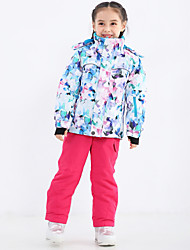 cheap -Boys' Girls' Ski Jacket with Pants Camping / Hiking Snowboarding Winter Sports Thermal / Warm Waterproof Windproof Polyster Warm Top Warm Pants Clothing Suit Ski Wear