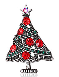 cheap -Women's Brooches Retro Star Christmas Tree Classic Trendy Fashion Cute Colorful Imitation Diamond Brooch Jewelry Red For Christmas Gift Club Festival