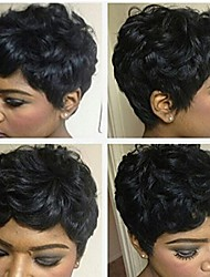 cheap -Human Hair Wig Short Curly Afro Short Hairstyles 2019 Berry Curly Afro Natural Black African American Wig For Black Women Machine Made Women's Black#1B