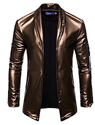 cheap -Men's Daily Fall & Winter Regular Leather Jacket, Solid Colored Turndown Long Sleeve PU Black / Gold / Silver