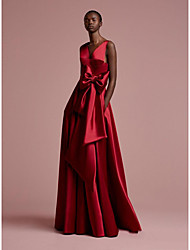 cheap -A-Line Plunging Neck Floor Length Satin Elegant Formal Evening Dress with Bow(s) 2020