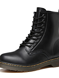 cheap -Women's Boots Low Heel Round Toe Leather Mid-Calf Boots Casual / Minimalism Walking Shoes Spring / Fall & Winter Black