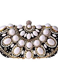 cheap -Women's Beading / Crystals Polyester / Alloy Evening Bag Geometric Pattern Black / Almond