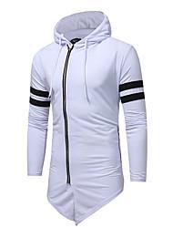 abordables -Homme Quotidien Basique Automne hiver Normal Trench, Couleur Pleine Col de Chemise Manches Longues Coton Noir / Blanche / Gris