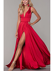 cheap -A-Line Elegant Prom Formal Evening Dress Plunging Neck Sleeveless Floor Length Satin with Split Front 2020