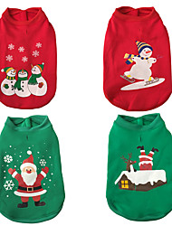 cheap -Dogs Cats Vest Christmas Winter Dog Clothes Red / Green Dark Green Light Green Costume Husky Labrador Alaskan Malamute Polyester Canvas Mixed Material Christmas S M L XL