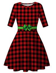 cheap -Kids Girls' Basic Cute Plaid Christmas Print Half Sleeve Knee-length Dress Red