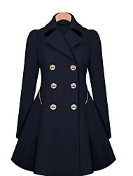 cheap -Women's Daily Vintage / Street chic Spring / Fall & Winter Long Trench Coat, Solid Colored Shirt Collar Long Sleeve Linen / Spandex Ruffle Navy Blue / Khaki