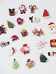 cheap -Women's Brooches Classic Santa Suits Bear Christmas Tree Classic Trendy Fashion Cute Colorful Resin Brooch Jewelry Pink and Green Green / Red White / Brown For Christmas Gift Daily Festival / 4pcs