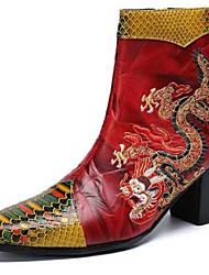 abordables -Homme Fashion Boots Cuir Nappa Hiver / Automne hiver Rétro Vintage / Chinoiserie Bottes Chaud Bottes Mi-mollet Noir / Vin / Mariage / Soirée & Evénement