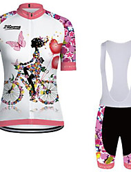 cheap -21Grams Women's Short Sleeve Cycling Jersey with Bib Shorts Pink+White Floral Botanical Bike Clothing Suit Breathable Quick Dry Ultraviolet Resistant Winter Sports Floral Botanical Mountain Bike MTB