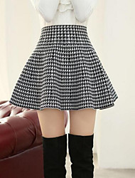 cheap -Women's Daily Sexy Skirts Houndstooth Solid Colored White Black Red
