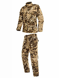 cheap -Men's Hunting Jacket with Pants Camo / Camouflage Winter Outdoor Breathable Comfortable Cotton Clothing Suit Camping / Hiking Hunting Climbing Yellow XS S M L XL