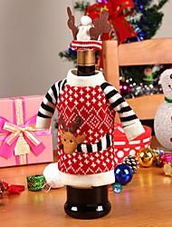 cheap -Christmas Wine Bottles Set Decoration Bottle Cap Clothes Kitchen Decoration New Year