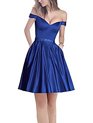 cheap -A-Line Minimalist Holiday Cocktail Party Dress Off Shoulder Short Sleeve Short / Mini Satin with Pleats Beading 2020