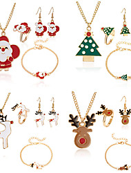cheap -Women's Drop Earrings Necklace Bracelet Layered Moon Santa Suits Elk Classic Trendy Fashion Cute Colorful Earrings Jewelry Brown / bright red / White For Christmas Gift Daily Festival 5pcs / Ring