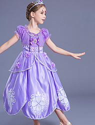 cheap -Princess Sofia Dress Kid's Ball Gown Slip Cartoon Birthday Halloween Festival / Holiday Polyster Light Purple Carnival Costumes Color Block Adorable