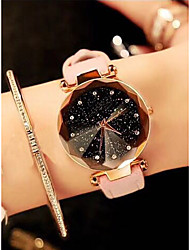 cheap -Women's Quartz Watches Cubic Zirconia New Arrival Fashion Black Red Brown PU Leather Quartz Black Purple Blushing Pink Chronograph Cute Casual Watch 2pcs Analog
