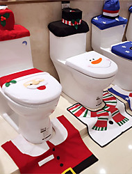 cheap -3 Pcs Christmas Decorations Happy Santa Toilet Seat Cover and Rug Bathroom Set