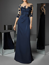 cheap -Sheath / Column Beautiful Back Formal Evening Dress Boat Neck Half Sleeve Sweep / Brush Train Polyester with Appliques 2020