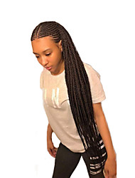cheap -Synthetic Lace Front Wig Box Braids Braid Lace Front Wig Long Natural Black Synthetic Hair 24 inch Women's Women Synthetic Braided Wig Black