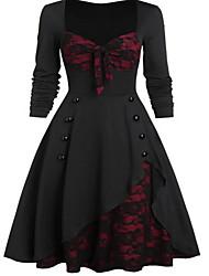 cheap -Women's Going out 1950s Elegant A Line Dress - Color Block Lace Patchwork Button U Neck Black Purple Green S M L XL