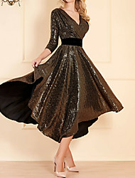 cheap -A-Line Plunging Neck Asymmetrical Polyester / Sequined Mother of the Bride Dress with Sash / Ribbon by LAN TING Express