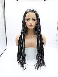 cheap -Synthetic Lace Front Wig Plaited Braid Lace Front Wig Medium Length Black / White Synthetic Hair 26 inch Women's Women Faux Locs Wig Braided Wig Black White Sylvia