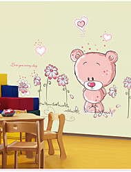 cheap -AY7017 cute pink bear sun flower cartoon children's room kindergarten bedroom background decoration removable stickers