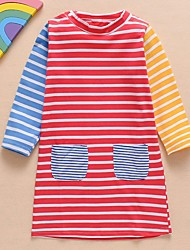 cheap -Kids Girls' Striped Dress Red
