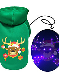 cheap -Dog Cat Hoodie Vest Christmas Christmas Dog Clothes Green Costume Polyester Canvas Mixed Material S M L