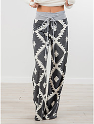 cheap -Women's Basic Wide Leg Pants - Geometric Pattern Gray S M L