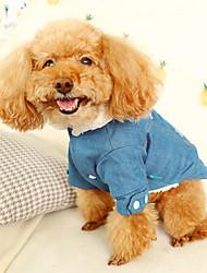 cheap -Cat Dog Denim Jacket / Jeans Jacket Winter Dog Clothes Gray Costume Denim Jeans Cowboy Fashion XS S M L XL