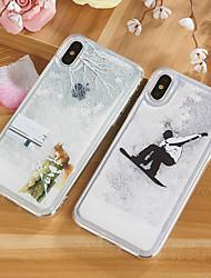 cheap -Case For Apple iPhone X / iPhone 8 Plus / iPhone 8 Flowing Liquid / Pattern / Glitter Shine Back Cover Cartoon / Tree / Glitter Shine TPU
