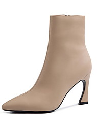cheap -Women's Boots Stiletto Heel Pointed Toe Microfiber Booties / Ankle Boots Fall & Winter Black / Nude / Coffee