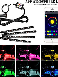 cheap -1set 12LED RGB Car Interior Decorative Floor Atmosphere Lamp Light Strip Smart Intelligent Wireless Phone APP Control Car Stylin