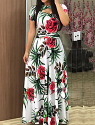 cheap -Women's Maxi Swing Dress - Short Sleeve Floral Elegant White Black Fuchsia Green Navy Blue S M L XL XXL XXXL XXXXL XXXXXL